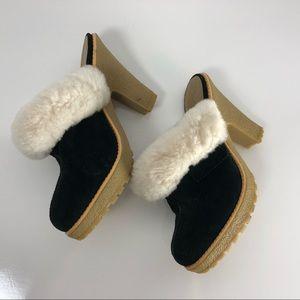 Jessica Simpson suede clog mule silver stud heels